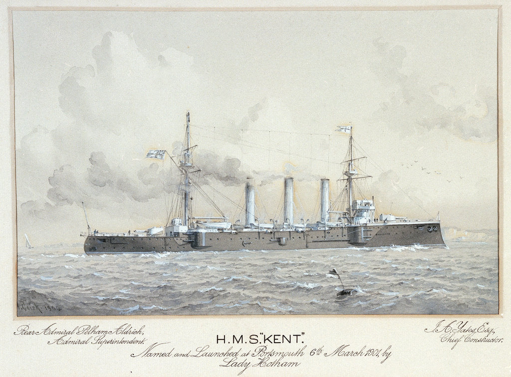 Detail of HMS 'Kent' named and launched at Portsmouth 6 March 1901 by H. Coish