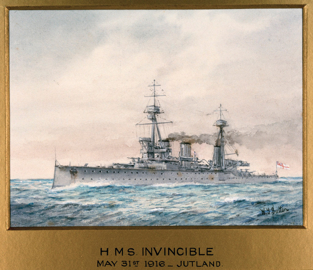 Detail of HMS 'Invincible' in Jutland, 31 May 1916 by W.J. Sutton