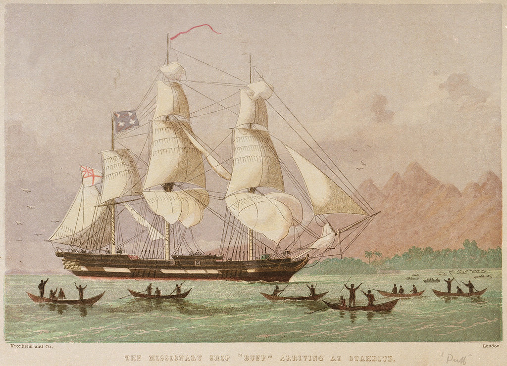 Detail of The missionary ship 'Duff' arriving at Otaheite by Kronheim & Co
