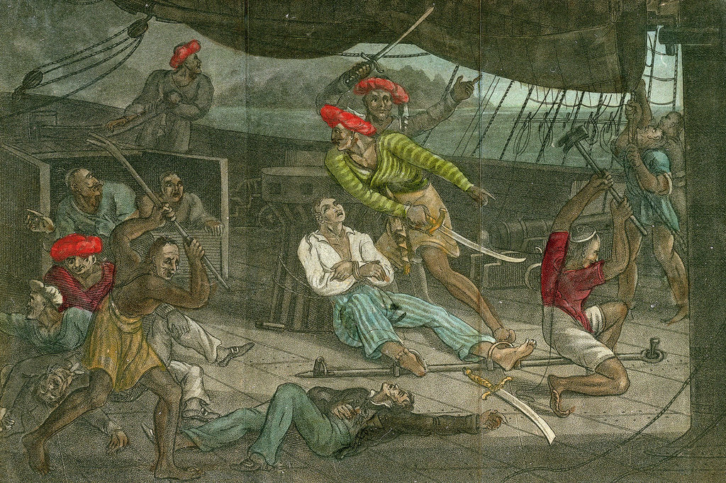 Detail of Pirates take control of a ship by unknown