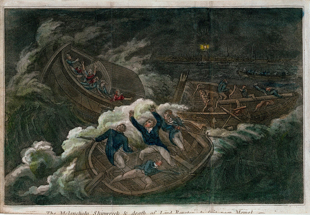 Detail of The 'Melancholy' shipwreck & death of Lord Royston by unknown
