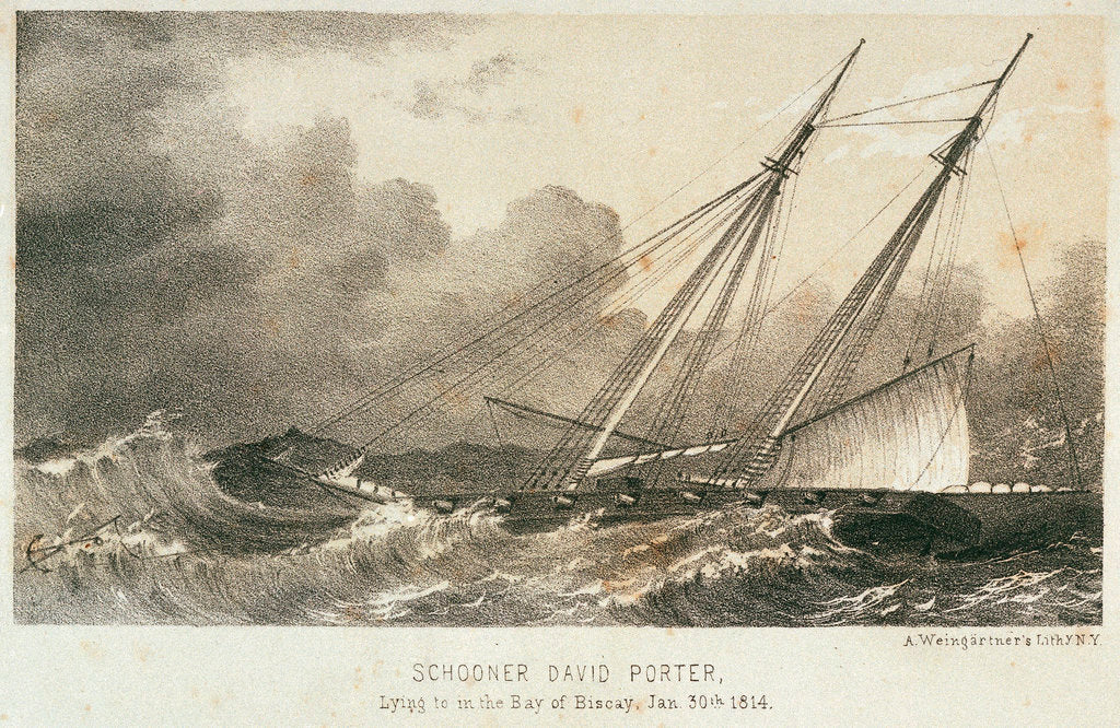 Detail of Schooner 'David Porte'r lying to in the Bay of Biscay, 30 January 1814 by A. Weingartner
