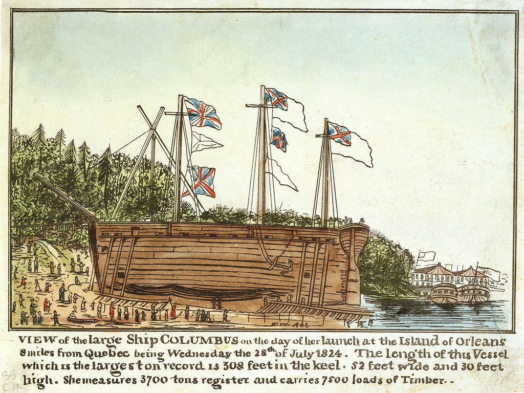 Detail of View of the 'Columbus' on the day of her launch, 28 July 1824 by Monogrammist 'FW'