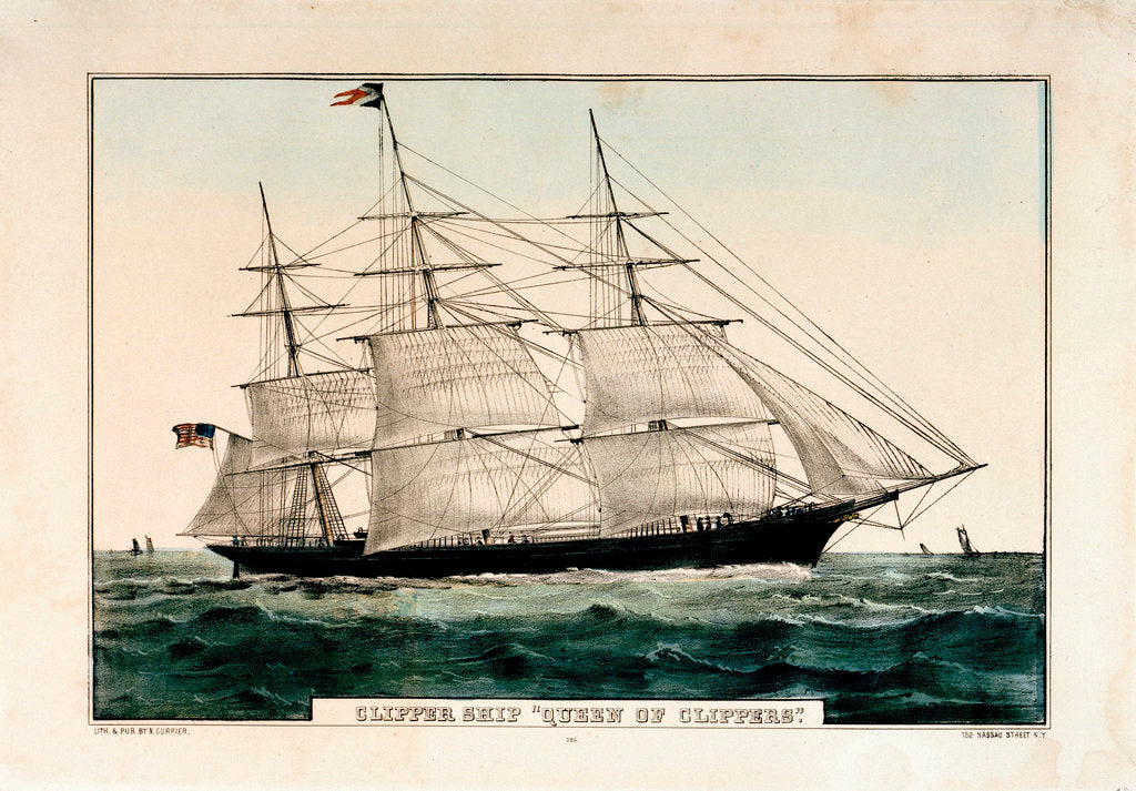 Detail of Lithograph entitled, 'Clipper Ship 'Queen of Clippers' 1853 by N Currier by N Currier