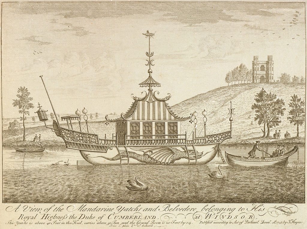 Detail of A view of the Mandarine yacht and Belvedere, belonging to His Royal Highness the Duke of Cumberland, at Windsor by J Haynes