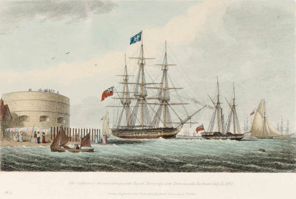 Detail of The Lightening Steamer bringing the Royal Sovereign into Portsmouth Harbour, 31 July 1827 by Henry Moses