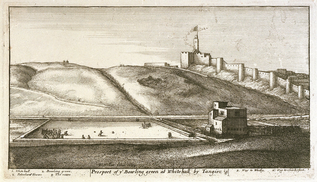 Detail of Prospect of the bowling green at Whitehall by Tangier by Wenceslaus Hollar