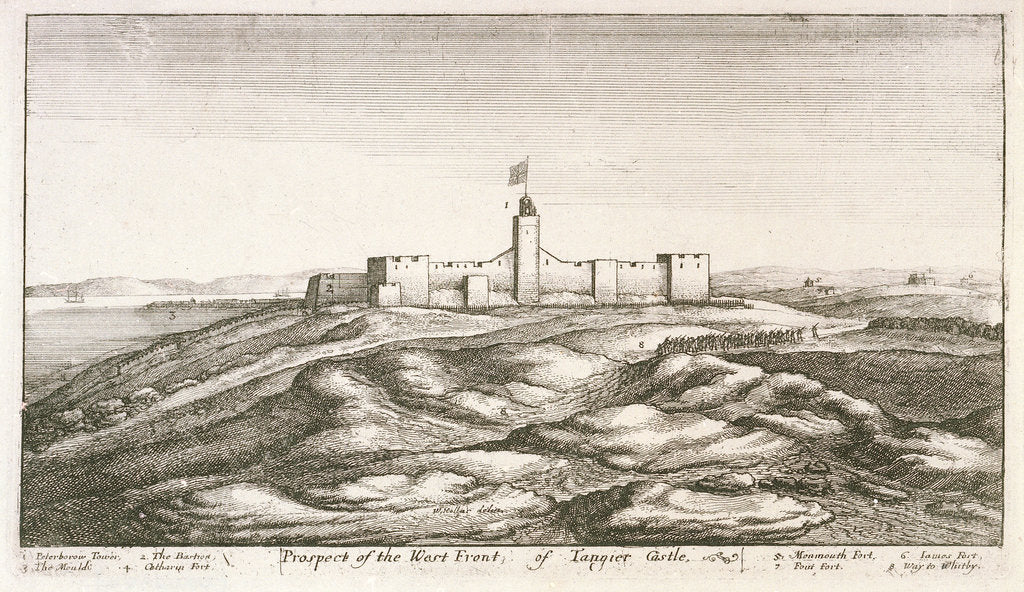 Detail of Prospect of the west front of Tangier castle by Wenceslaus Hollar