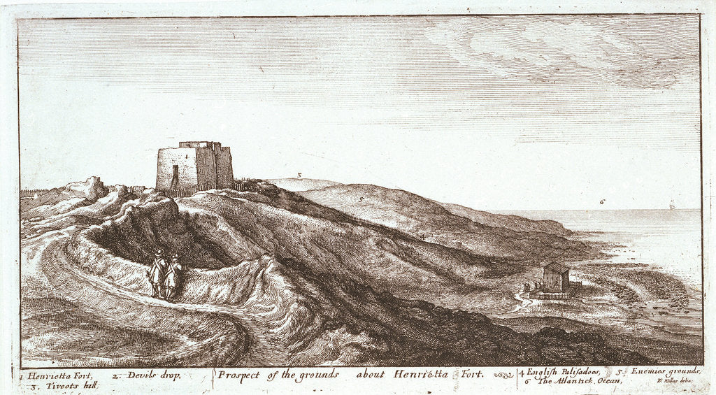 Detail of Prospect of the grounds about Henrietta Fort by Wenceslaus Hollar