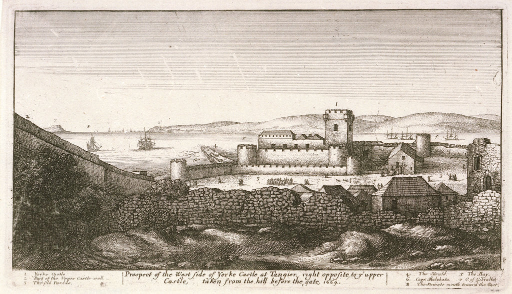 Detail of Prospect of the west side of Yorke Castle at Tangier, right opposite to y upper Castle, taken from the hill before the gate 1669 by Wenceslaus Hollar
