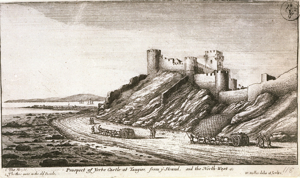 Detail of Prospect of Yorke Castle at Tangier, from y Strand, and the northwest by Wenceslaus Hollar