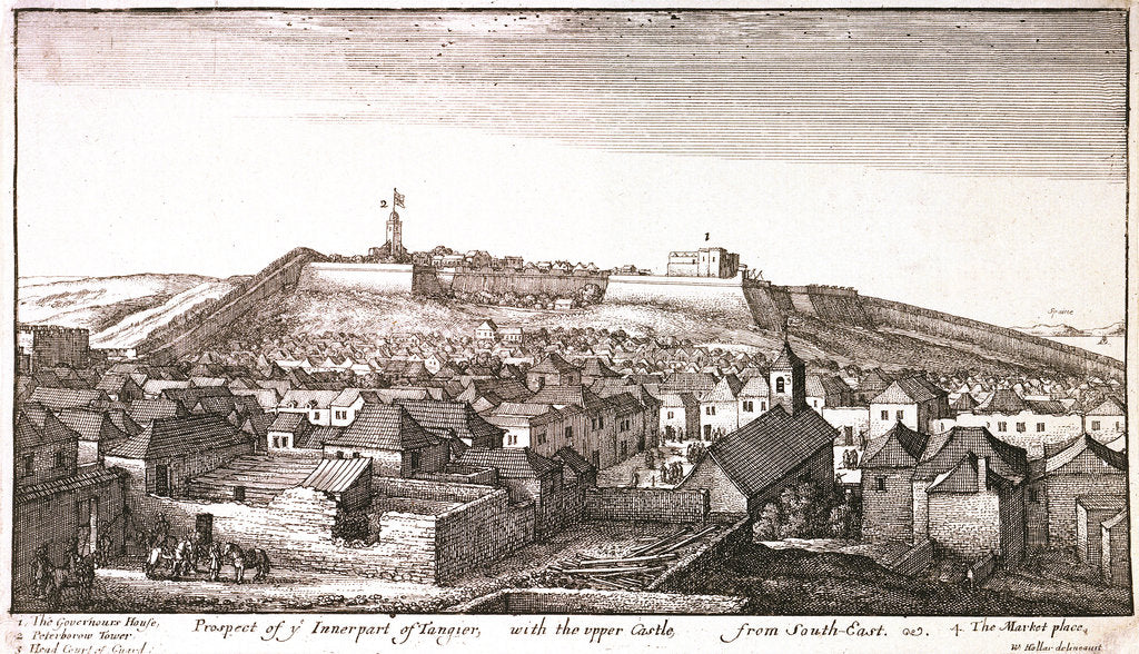 Detail of Prospect of y Innerpart of Tangier, with the upper Castle, from southeast by Wenceslaus Hollar