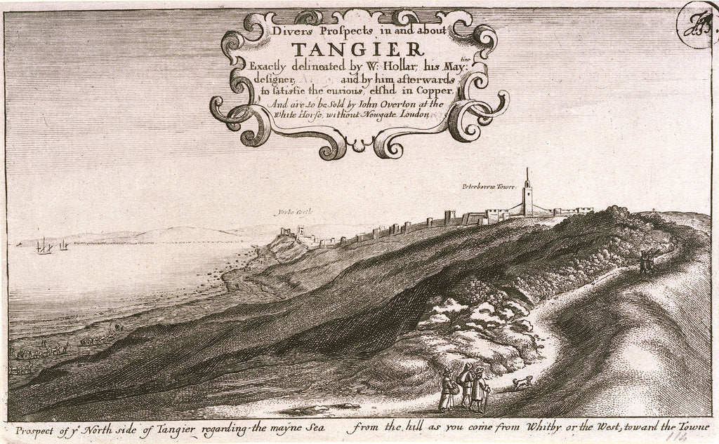Detail of Prospect of y North side of Tangier regarding the mayne sea from the hill as you come from Whitby or the west, toward the Towne by Wenceslaus Hollar