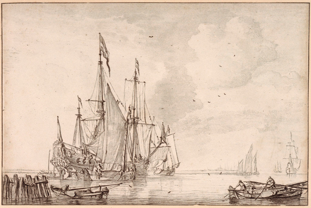 Detail of A Dutch flagship becalmed with vessels alongside by Willem Van de Velde the Younger