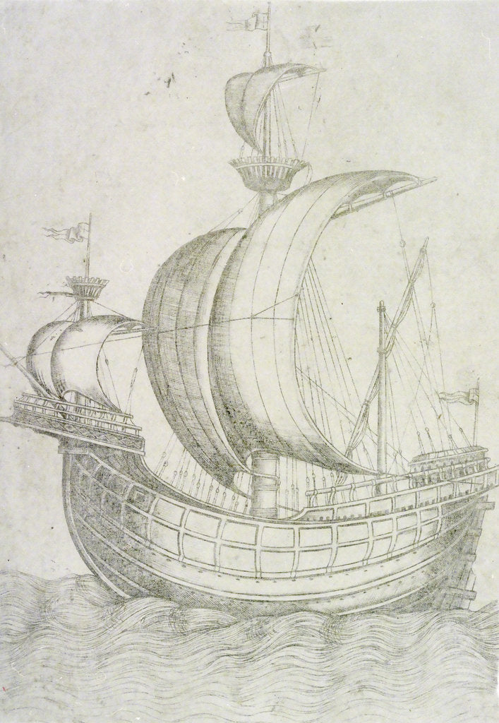 Detail of A three-masted ship under sail by Venetian School