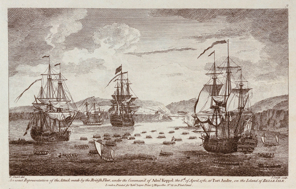 Detail of Attack by the British Fleet at Port Andre, on the Island of Belle Isle, 8 April 1761 by R. Short