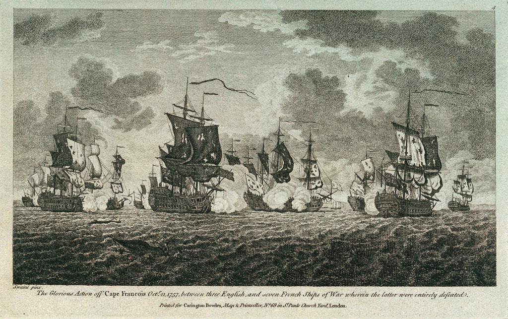 Detail of Twelve Prints of Sea Engagements. The Defeat of a French Squadron, commanded by Monsr de la Clue, off Cape Lagos, on the 18th of August 1759, by a Squadron of his Majesty's Ships under the Command of the Rt Honble Edwd. Boscawen Adml of the Blue by Francis Swaine