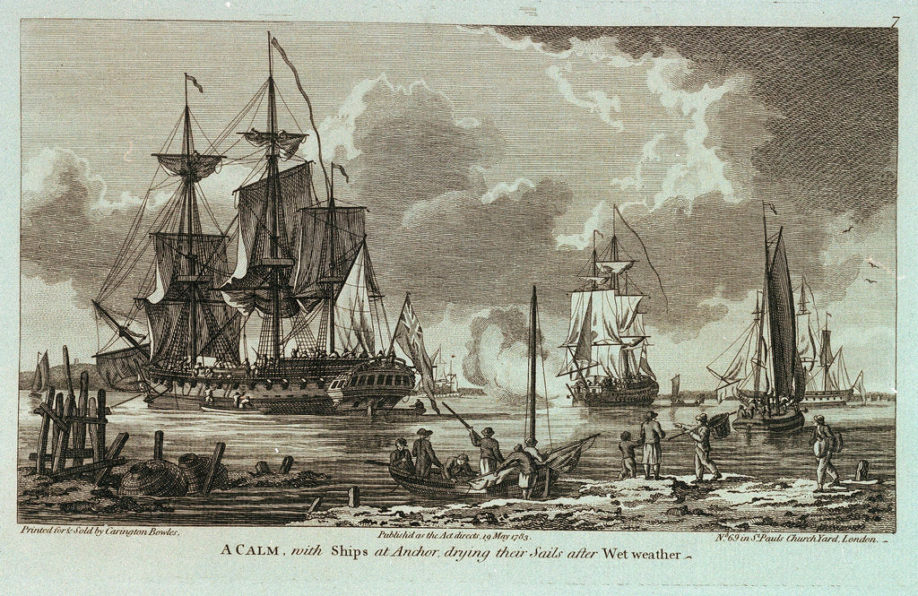 Detail of Twelve Views of His Majesty's Ships, &c. in Different Situations. A Calm, with Ships at Anchor, drying their Sails after Wet weather by unknown