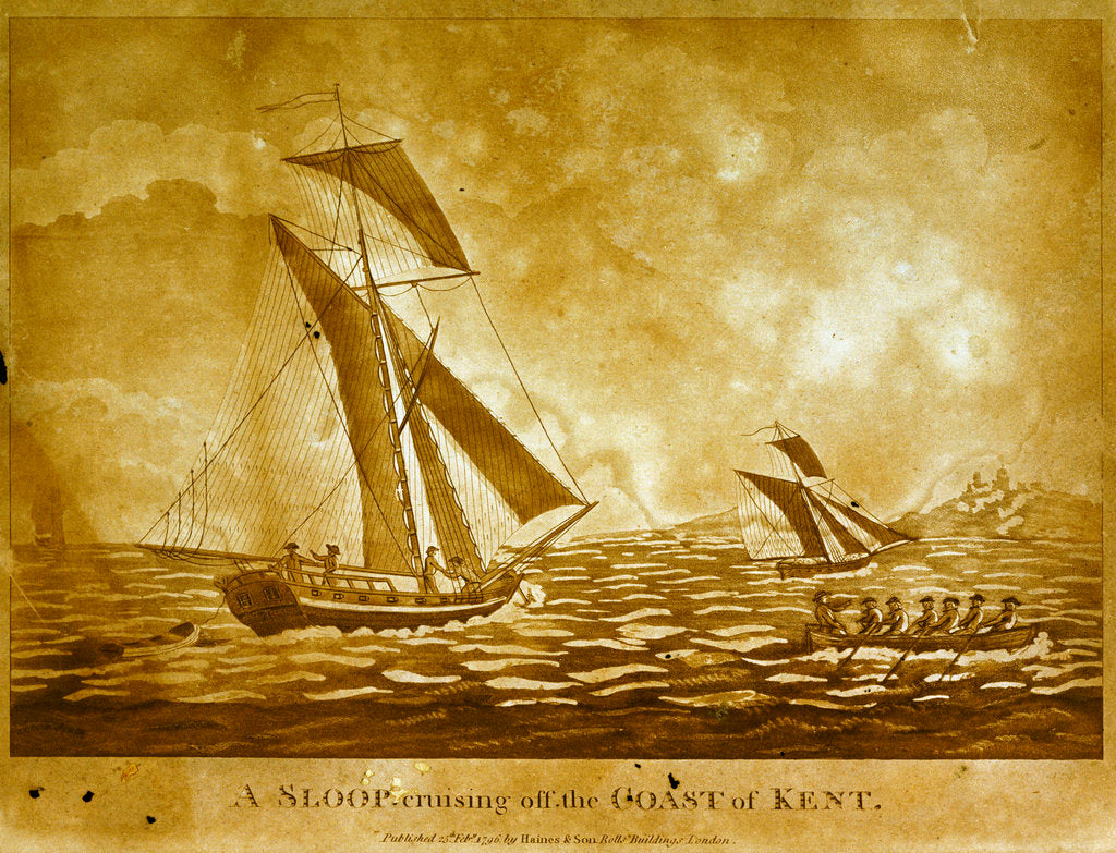 Detail of A sloop cruising off the Coast of Kent by Haines & Son