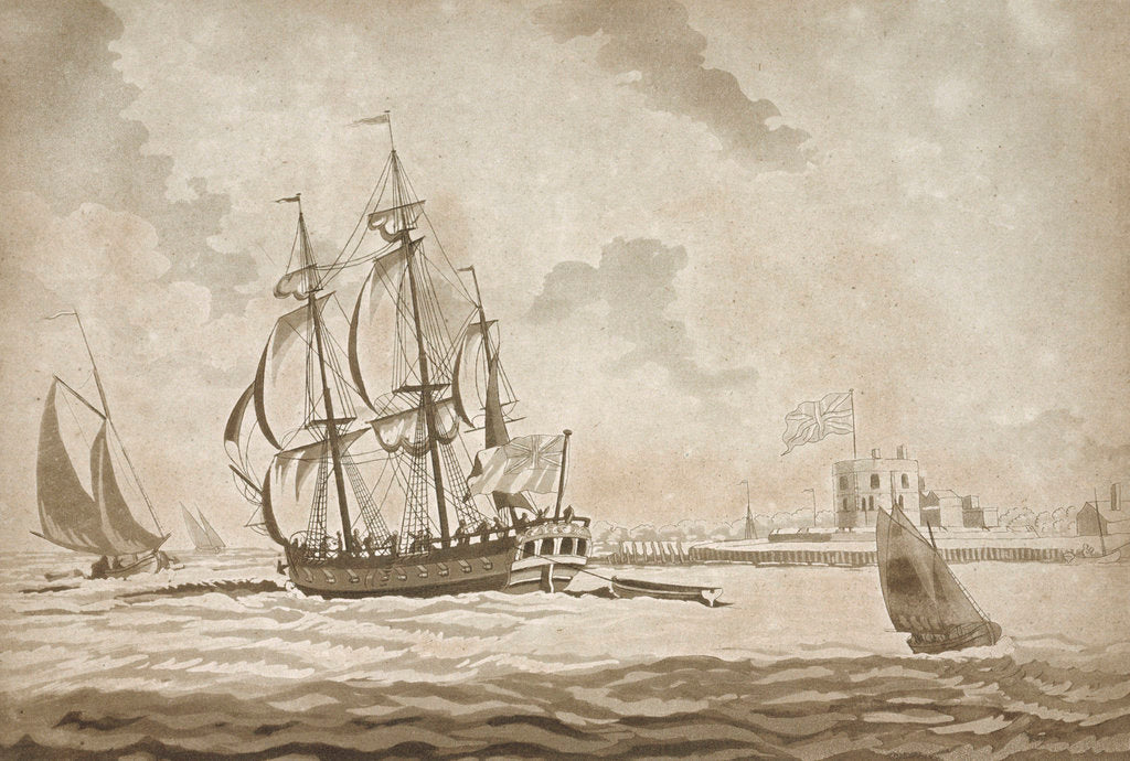 Detail of The privateer 'Active' passing Tilbury with a fresh breeze by unknown