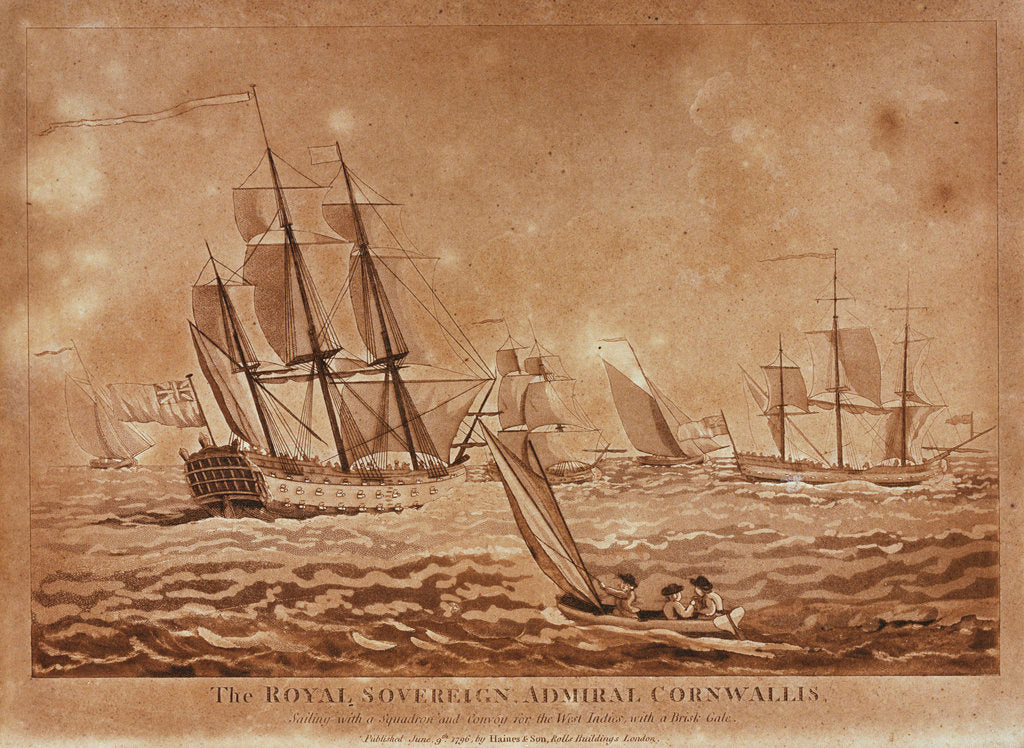 Detail of The Royal Sovereign Admiral Cornwallis sailing with a Squadron and Convoy for the West Indies, with a Brisk Gale by Haines & Son