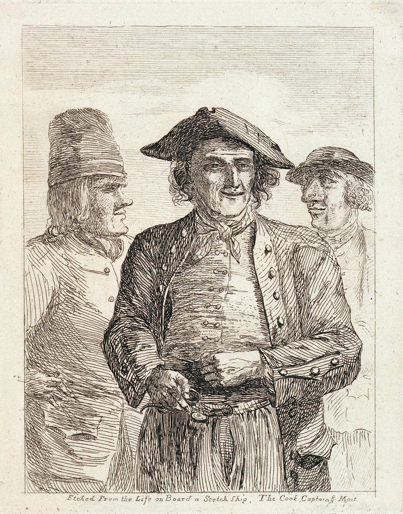 Detail of Life on board a Scotch ship. The cook, captain & mate by Paul Sandby
