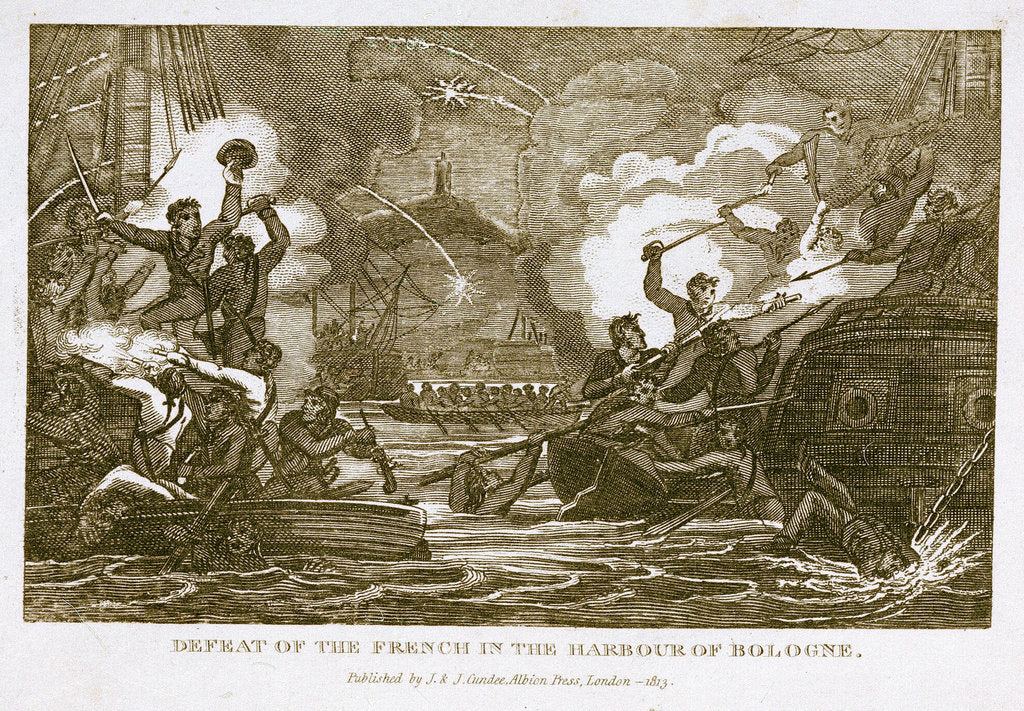 Detail of Defeat of the French in the harbour of Bologne by J. & J. Cundee (publishers)