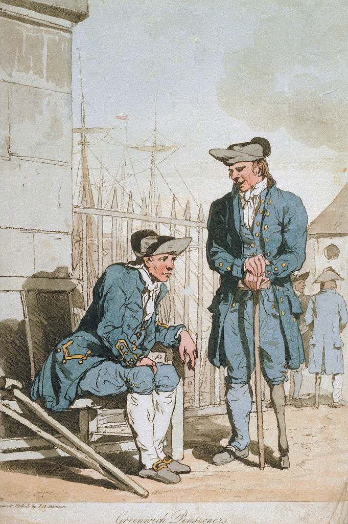 Detail of Greenwich Pensioners by John Augustus Atkinson