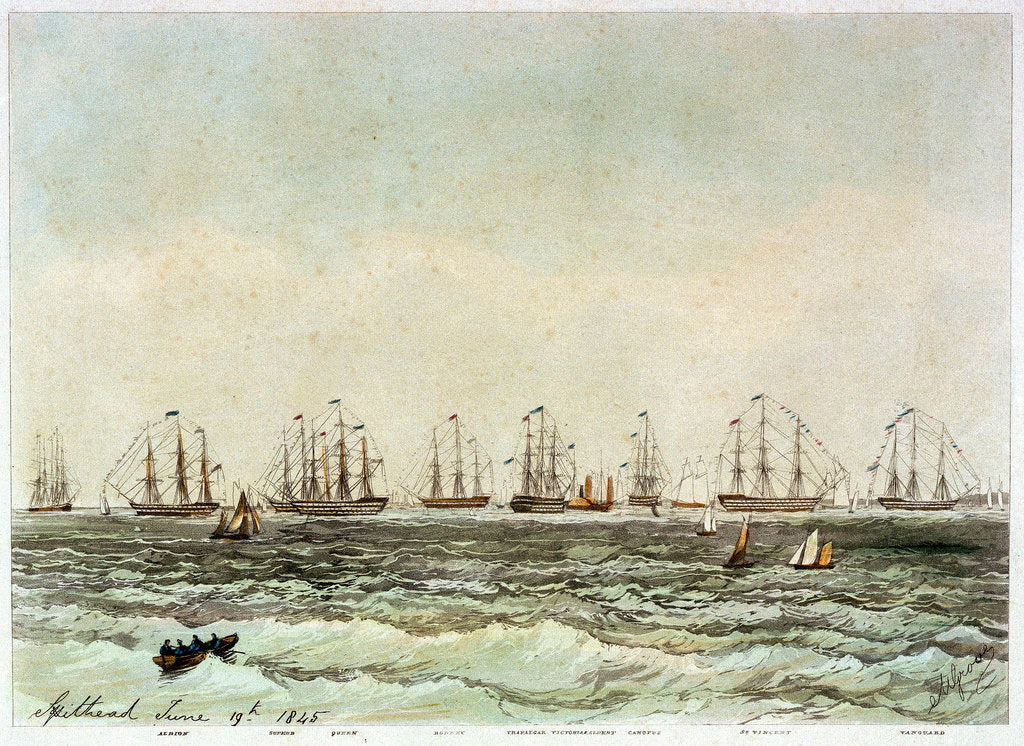 Detail of Spithead, 19 June 1845. 'Albion', 'Superb', 'Queen', 'Rodney', 'Trafalgar', 'Victoria & Albert', 'Canopus', 'St Vincent', 'Vanguard' by M. Grove