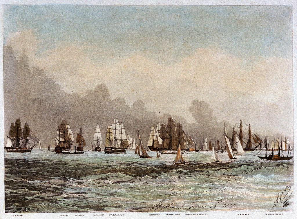 Detail of Spithead, 23 June 1845. 'Albion', 'Queen', 'Superb', 'Rodney', 'Trafalgar', 'Canopus', 'St Vincent', 'Victoria & Albert', 'Vanguard', 'Black Eagle' by M. Grove