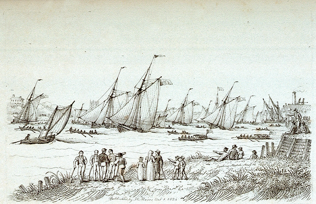 Detail of Sailing match August 16 1824 by Chatfield & Coleman