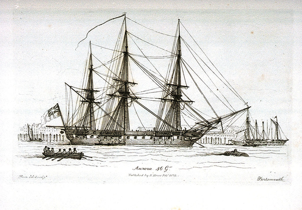 Detail of Sketches of Shipping in Portsmouth Harbour, Drawn and Etched by Henry Moses. Aurora 46 Gns. Portsmouth by Henry Moses