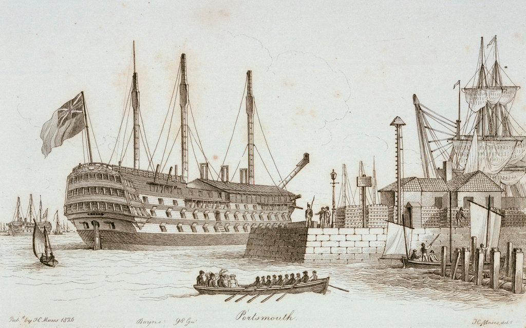 Detail of Sketches of shipping in Portsmouth harbour by Henry Moses