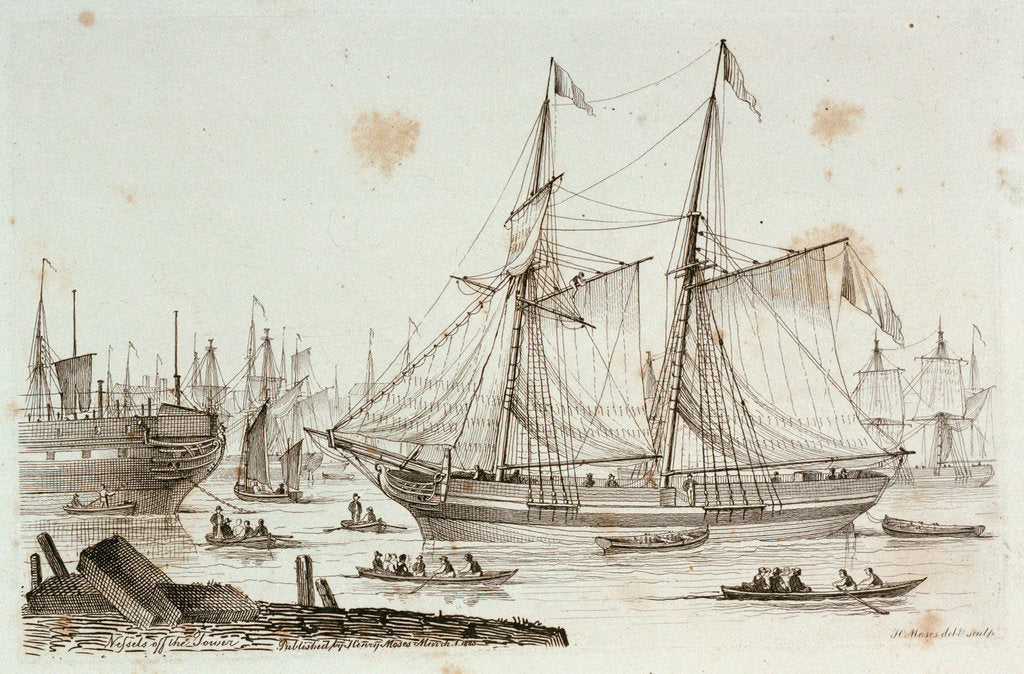 Detail of Sketches of shipping drawn and etched by Henry Moses: hulks at Sheerness by Henry Roses