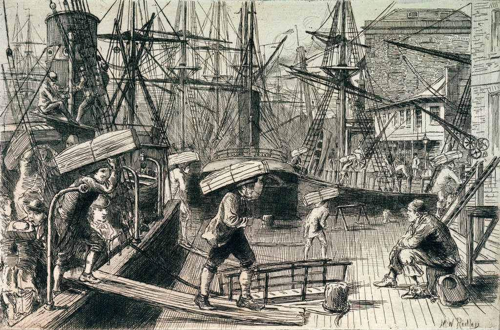 Detail of Sailors disembarking by Matthew White Ridley