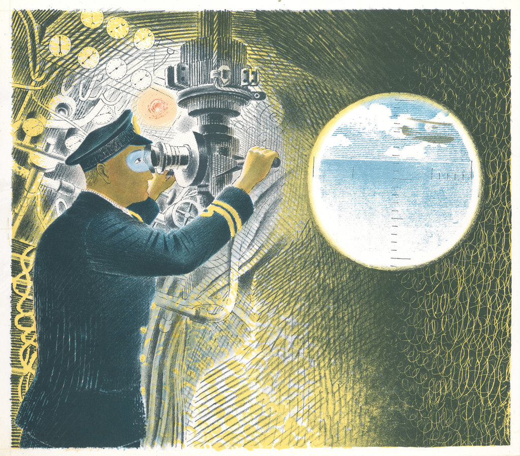 Detail of Officer looking through a periscope (from the 'Submarines' series) by Eric Ravilious