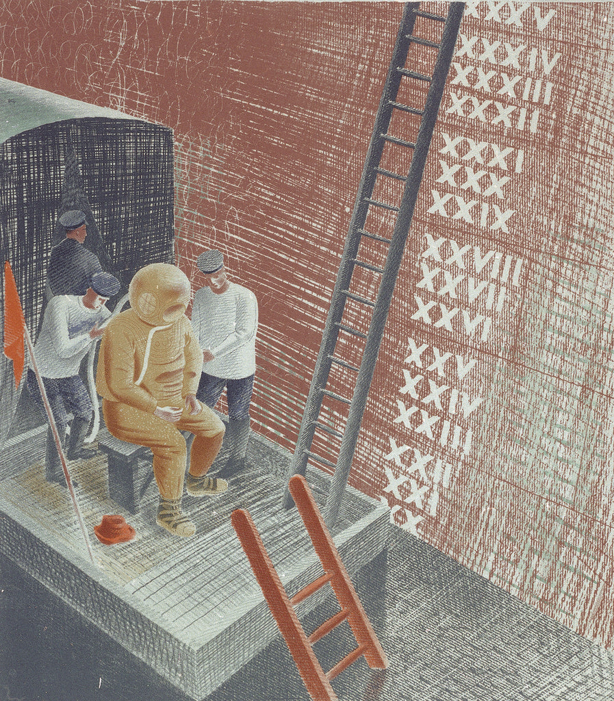 Detail of The Submarine Series: The diver by Eric Ravilious