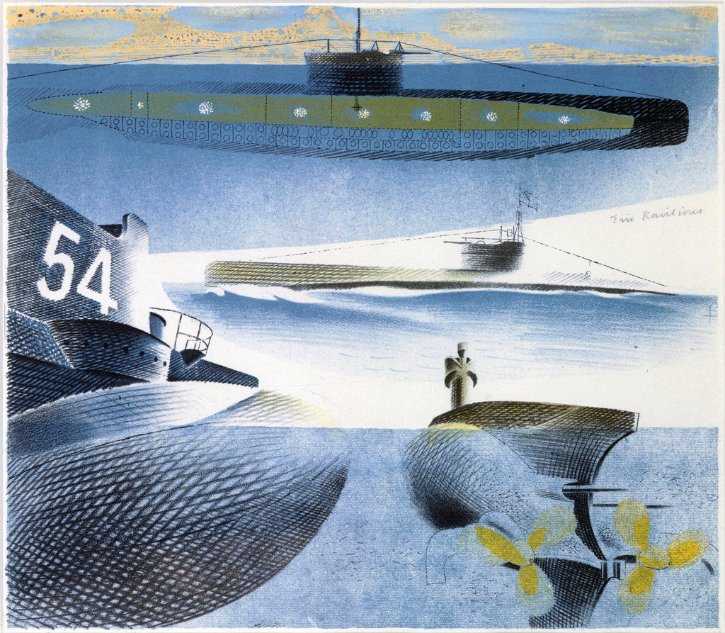 Detail of The Submarine Series: Submarine submerged by Eric Ravilious