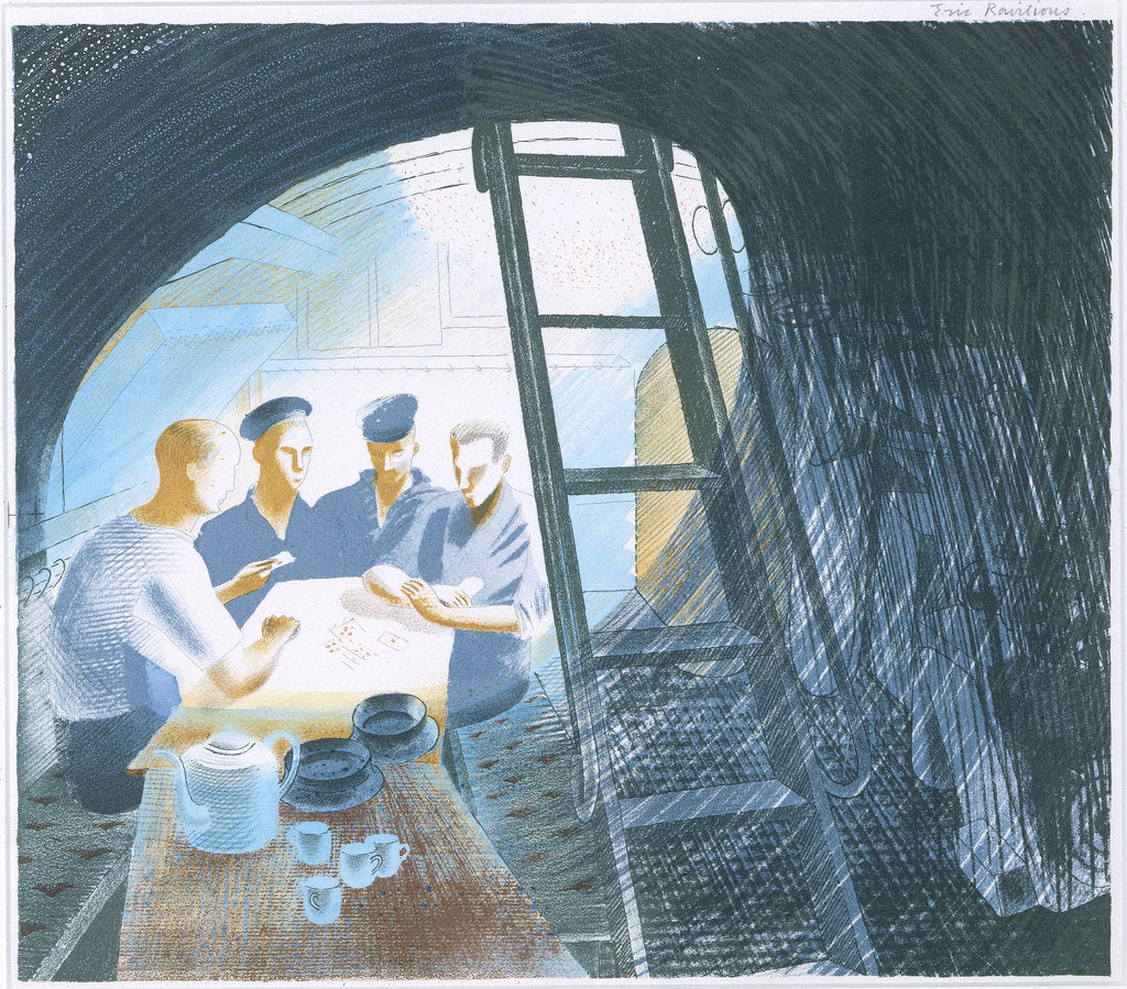 Detail of The Submarine Series: The Ward (mess) Room by Eric Ravilious