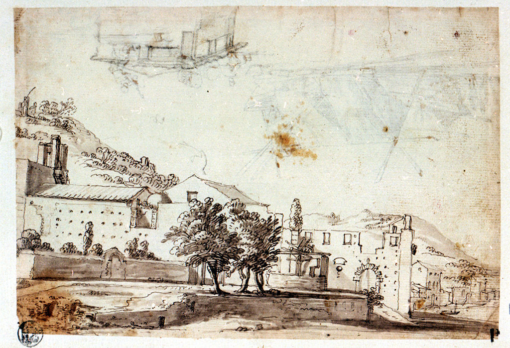 Detail of Landscape and view of village (reverse) by Abraham Casembrot