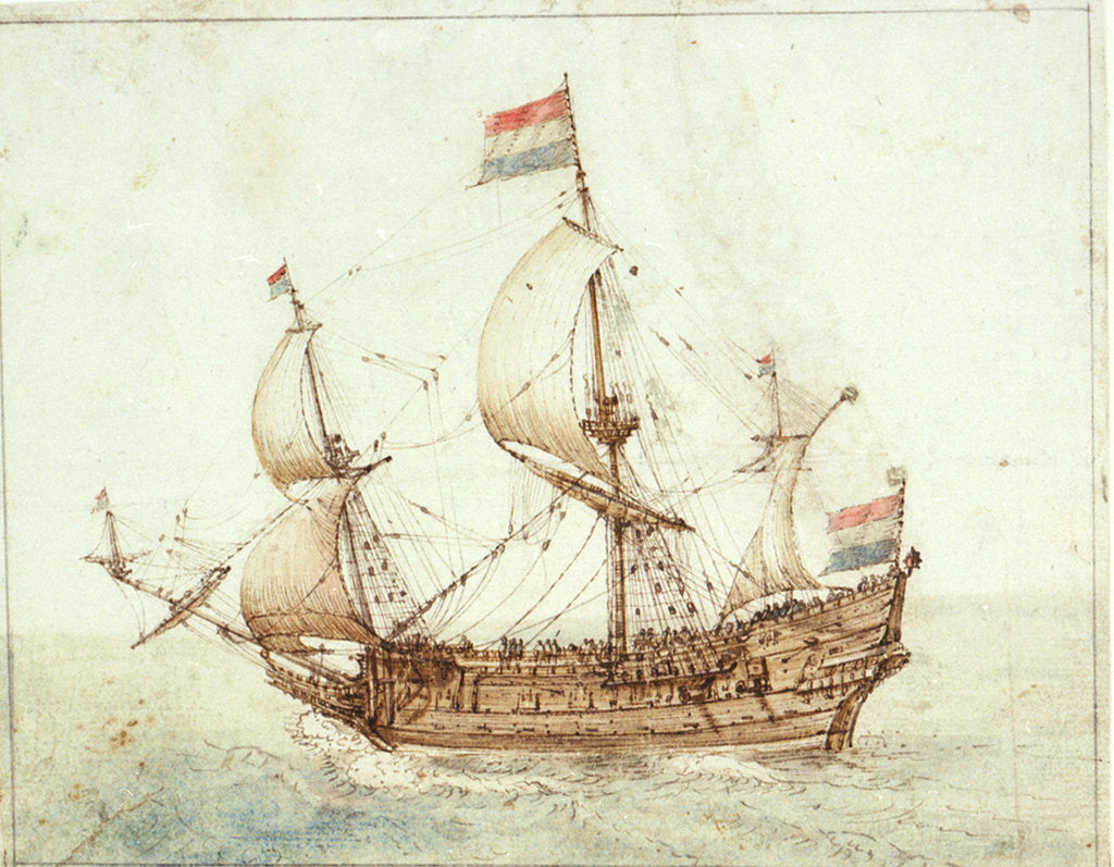 Detail of A Dutch three-masted ship under sail by Cornelis Verbeeck