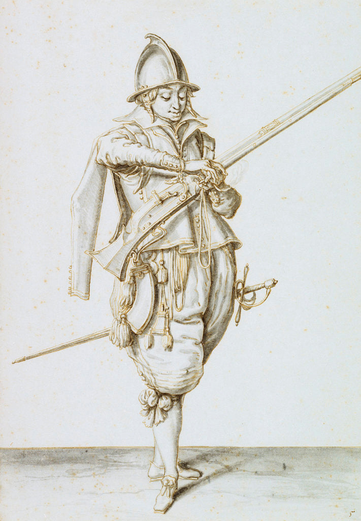 Detail of Drawing for the exercise of armes, 1607 by Jacob de Gheyn