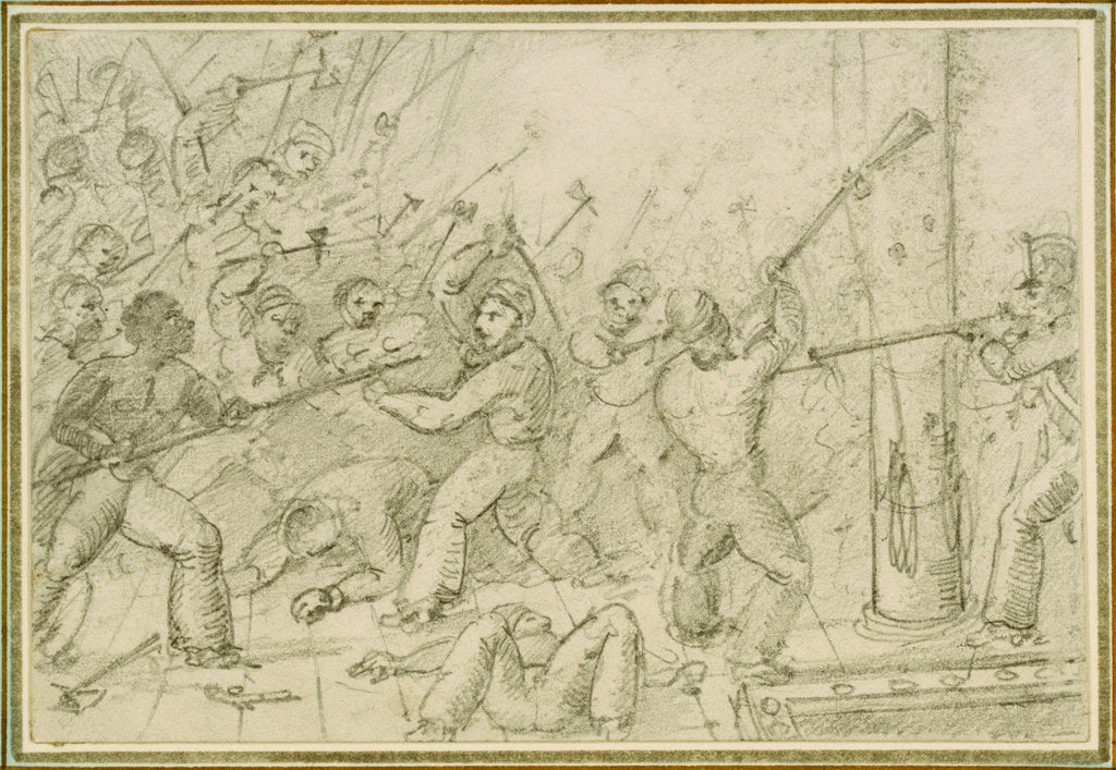 Detail of Shipboard scene of fighting on deck by unknown