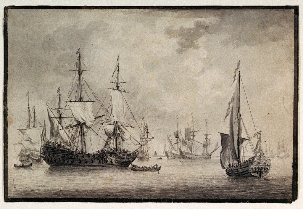 Dutch man-of-war, states yacht and distant shipping in a harbour by Charles Gore