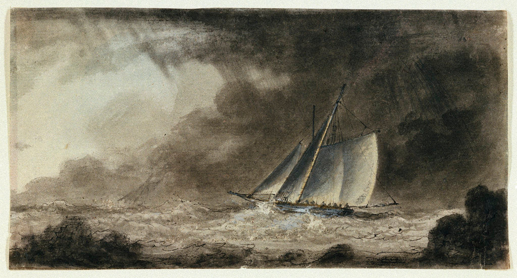 Detail of Cutter off a coast in a squall by Charles Gore
