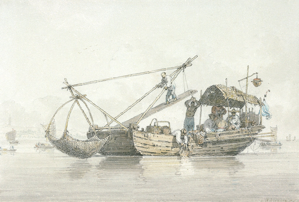 Detail of A fishing junk by William Alexander