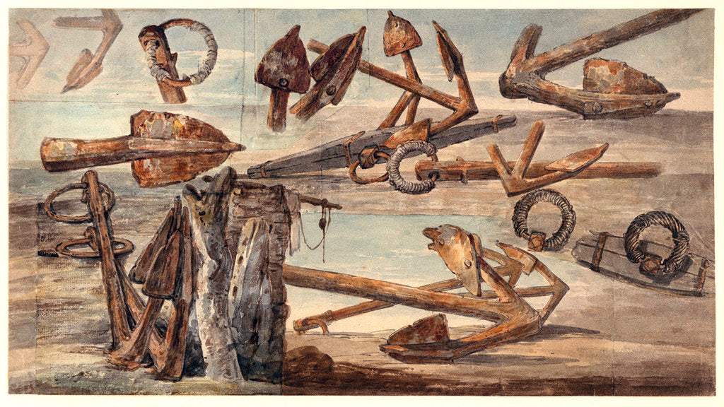 Detail of Rusted Kedge anchors by William Payne