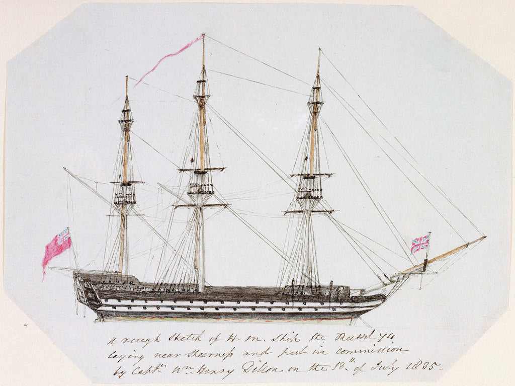 Detail of Sketch of HMS 'Russel' by unknown