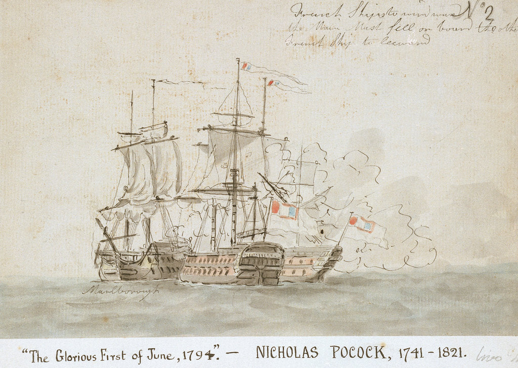 Detail of The Battle of the Glorious First of June, 1794; the 'Marlborough' engaged with two French ships (No.2) by Nicholas Pocock