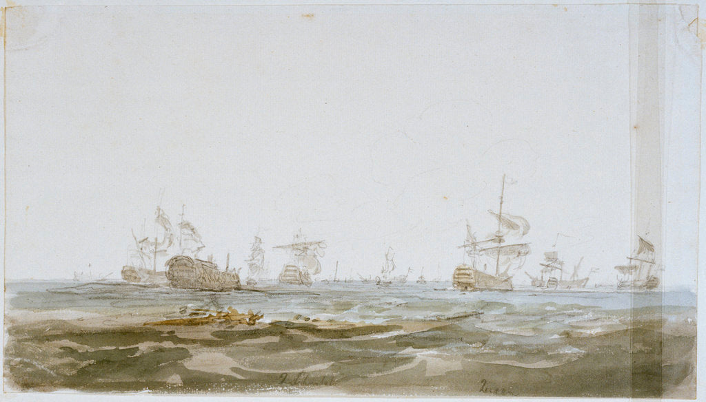Detail of The Battle of the Glorious First of June, 1794; the 'Queen Charlotte' and 'Queen' after the battle by Nicholas Pocock